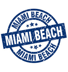 Miami beach blue round grunge stamp vector