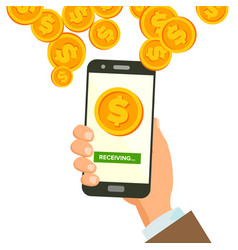 mobile dollar receiving concept human hand vector image
