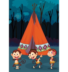 monkeys camping vector image