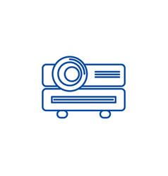 Multimedia projector line icon concept vector