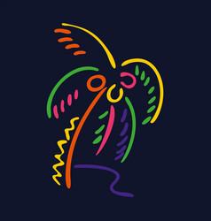 Neon style palm tree logo on dark background vector