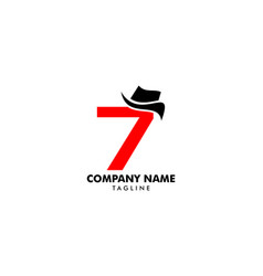 Number seven or 7 with hat logo vector
