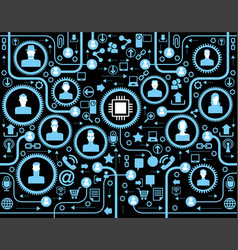 people in a computer network vector image