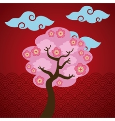 Pink tree and clouds vector
