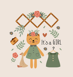 poster with cat girl and bohemian elements vector image