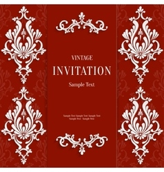 Red Christmas Vintage Invitation Card with vector image