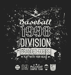 Retro emblem baseball division college black vector