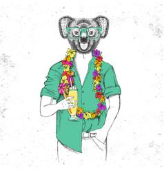 Retro hipster animal koala with tropic cocktail vector