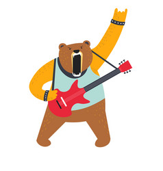 rock music and bear guitar player isolated animal vector image