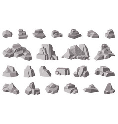 rocks and stones granite mountain pebble grey vector image