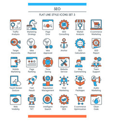 seo icons set 3 vector image