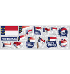 Set flags american state north vector