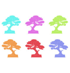 set japanese bonsai tree logo plant silhouette vector image