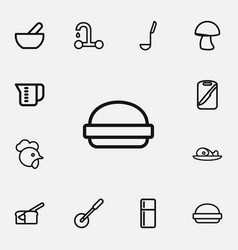 Set of 12 editable cook outline icons includes vector