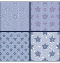 Set of blue star patterns vector image vector image