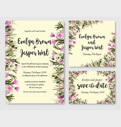 set of floral frames with pink and white wax vector image