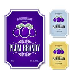 set plum brandy distillate labels on white vector image