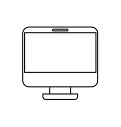 Sketch silhouette modern flat computer screen vector
