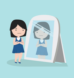 small girl looking standing in front mirror vector image