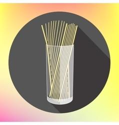 spaghetti pasta glass flat icon vector image