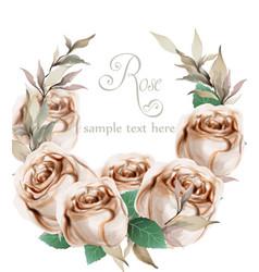 Spring roses watercolor wreath frame beautiful vector