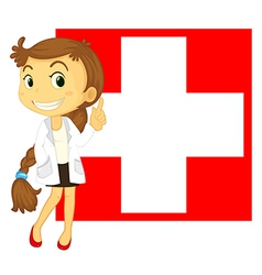 The flag of Switzerland at the back of a doctor vector image