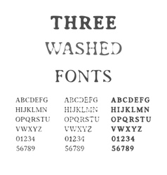 Three Handdrawn Fonts Washed Latin Alphabet Set vector