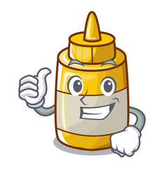 thumbs up character bottle style mustard sauce vector image