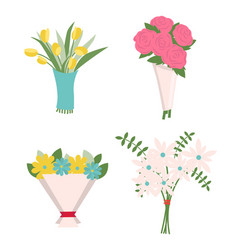 tulips and roses fern leaves in bouquet icons vector image