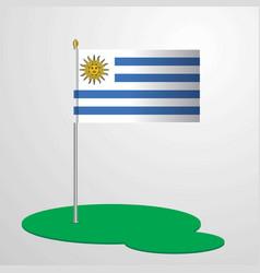 Uruguay flag pole vector