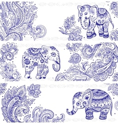 Vintage set of banners with ethnic elephants vector