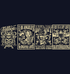 vintage tattoo monochrome posters set vector image