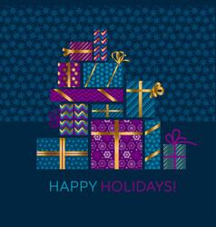 violet and blue xmas gift box vector image