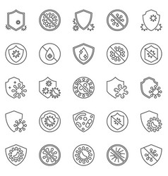 virus and antibacterial protection outline vector image