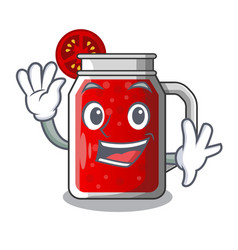 waving sweet tomato juice in character glass vector image