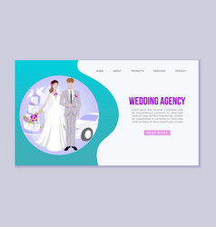 wedding agency with bride and bridegroom and car vector image