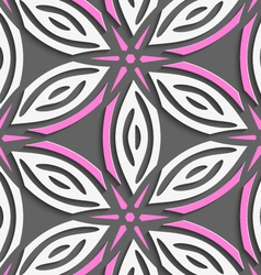 White geometrical flowers with pink stars on gray vector