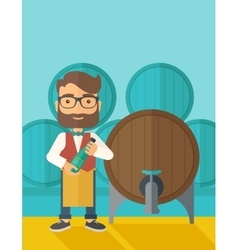 Wine maker inspecting wine from barrel vector