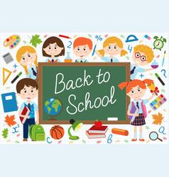 back to school blackboard with schoolchild vector image vector image