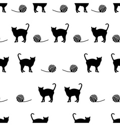 black cats and ball of wool seamless pattern eps10 vector image vector image