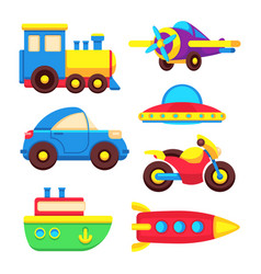 colorful baby toy transport set vector image vector image