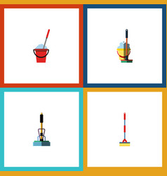 flat icon mop set of bucket mop sweep and other vector image vector image