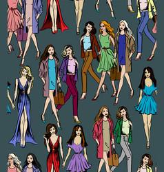girlfriends walking vector image vector image