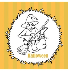 Halloween witch with a cat vector image