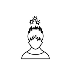 Man with metal gears over head icon outline style vector image