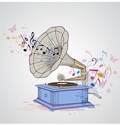 Retro music background with gramophone vector image vector image