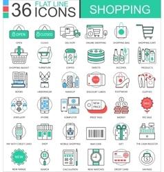 Shopping e-commerce color flat line outline vector image