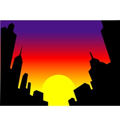 Sunset City Skyline Background vector image
