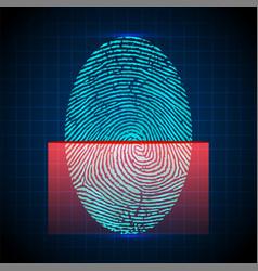 fingerprint scanner identification system vector image