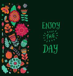 Floral card design leaf doodle elements vector